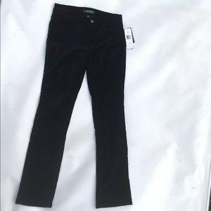 NWT black velvet Ralph Lauren pants Sz 2